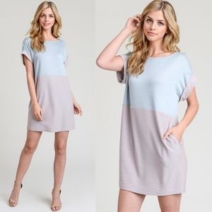 ALUNA Color Block Dress - BLUE mix